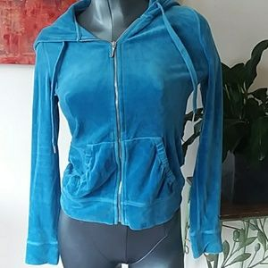 JUICY blue plush zip up hoodie with pockets